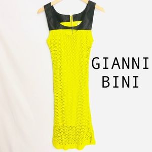 Gianni Bini Lime Crochet and faux leather dress